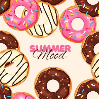 Donut padrão sem emenda chocolate baunilha e donut de morango
