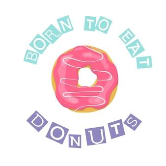 Donut rosa de estilo dos desenhos animados