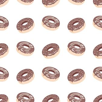 Donut seamless pattern, um donut com glacê rosa.