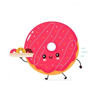 Donut sorridente feliz bonito correr com caixa de entrega. design plano ilustração personagem dos desenhos animados. isolado no fundo branco. donut, conceito de menu de entrega de padaria