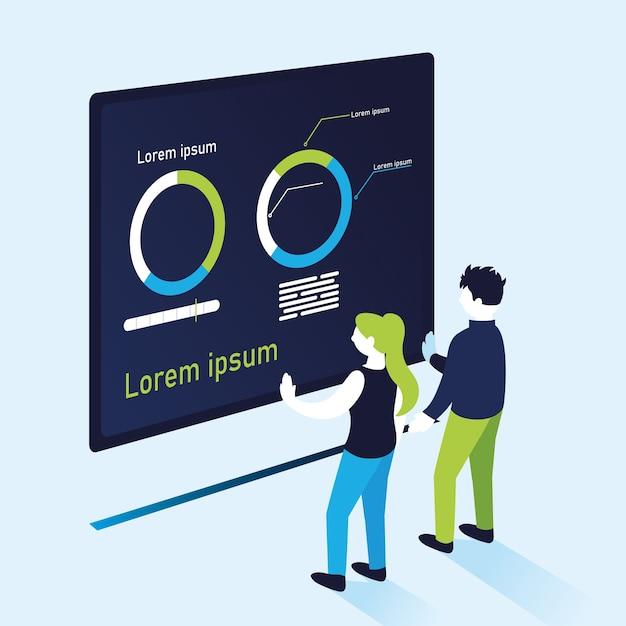 Donut traça infográfico com mulher e homem, ilustração de tema de informação e análise de dados