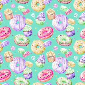 Donuts, bolos e doces sem costura padrão caramelo