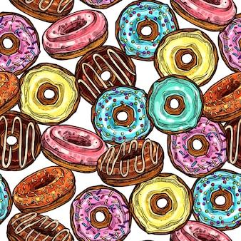 Donuts brilhante colorido padrão sem emenda