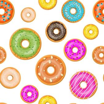 Donuts de diferentes sabores padrão sem emenda