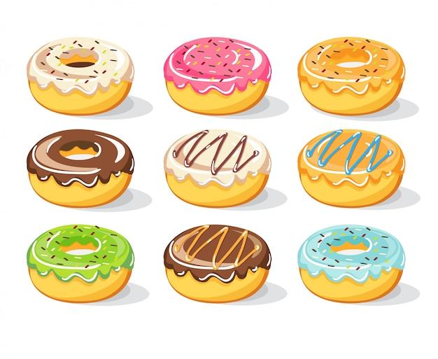 Donuts de doce definir coleção, ilustração