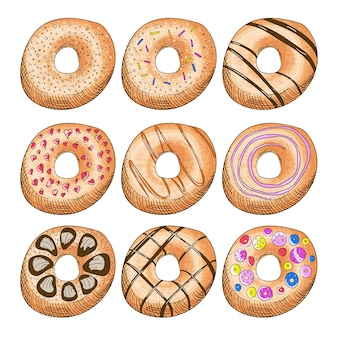 Donuts decorados com gelo.