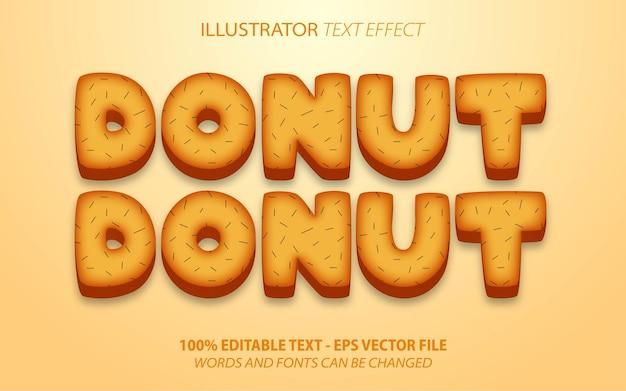 Donuts, efeito de texto editável de estilo cartoon de comida marrom 3d