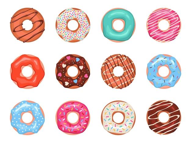 Donuts em esmalte colorido, doces infantis variados, pastelaria para design de menu, decoração de café