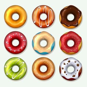 Donuts em estilo cartoon. sobremesa doce, chocolate e açúcar, lanche no café da manhã, confeitaria saborosa