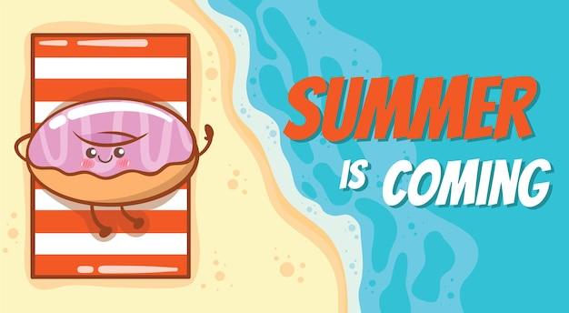 Donuts fofos relaxando na praia com um banner de saudação de verão