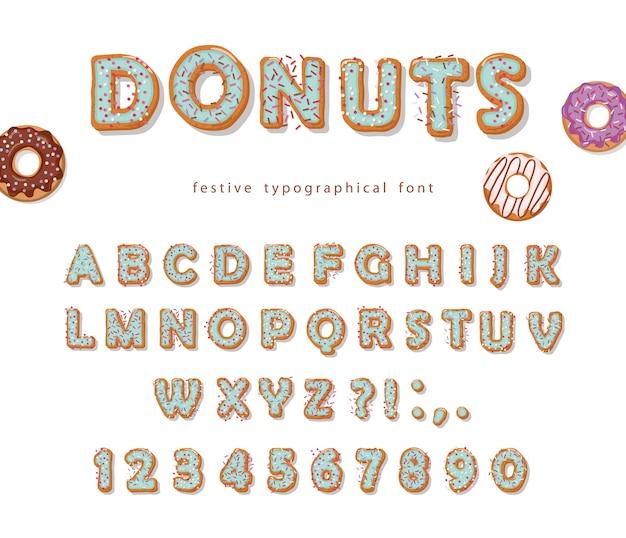 Donuts mão desenhada fonte decorativa.
