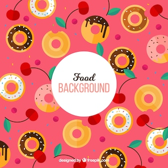 Donuts padrão de fundo com design plano