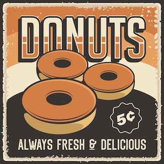 Donuts retro commercial poster