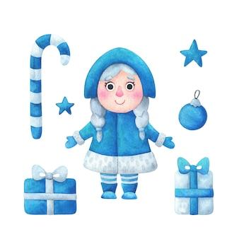 Donzela da neve, presente, bengala de caramelo, estrela, desenho de árvore de natal azul