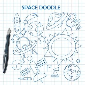 Doodle a ilustração do espaço com um foguete, astronautas, planetas e alienígenas desenho vetorial de crianças fofas