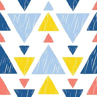 Doodle abstrato feito à mão triângulo sem costura de fundo. papel de parede artesanal infantil para cartão de design, fralda de bebê, fralda, álbum de recortes, papel de embrulho de férias, têxteis, impressão de bolsa, camiseta etc.