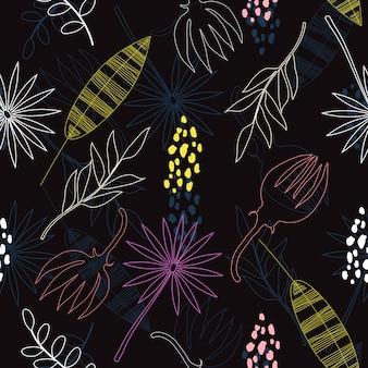 Doodle abstrato linhas de flores sem costura de fundo