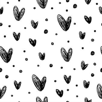 Doodle abstrato sem costura patten fundo. patten preto e branco monocromático para cartão de design, convite para festa moderna, menu de férias de halloween, impressão de bolsa, design de camiseta etc.