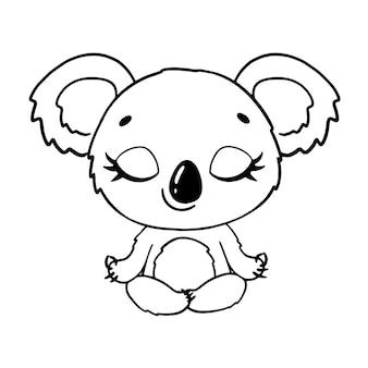 Doodle animais bonitos dos desenhos animados meditam. página para colorir de meditação coala.
