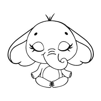 Doodle animais bonitos dos desenhos animados meditam. página para colorir de meditação de elefante.