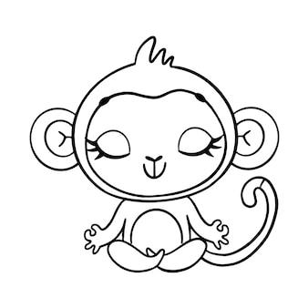 Doodle animais bonitos dos desenhos animados meditam. página para colorir de meditação de macaco.