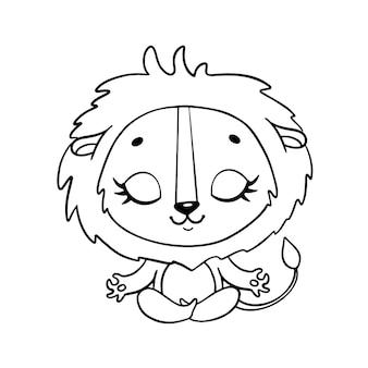 Doodle animais bonitos dos desenhos animados meditam. página para colorir de meditação do leão.