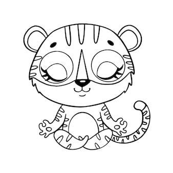 Doodle animais bonitos dos desenhos animados meditam. página para colorir de meditação do tigre.