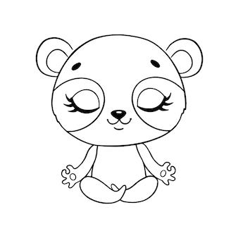 Doodle animais bonitos dos desenhos animados meditam. página para colorir de meditação panda.
