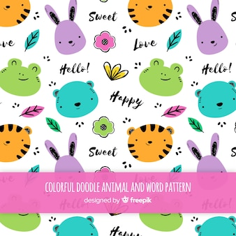 Doodle animais e palavras padrão