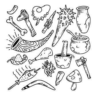 Doodle antigo conjunto de ilustração