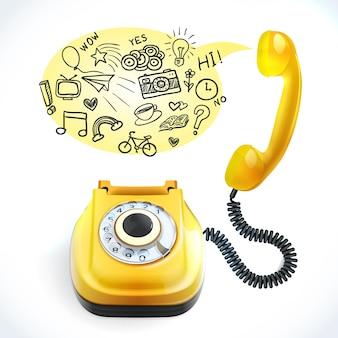 Doodle antigo de telefone
