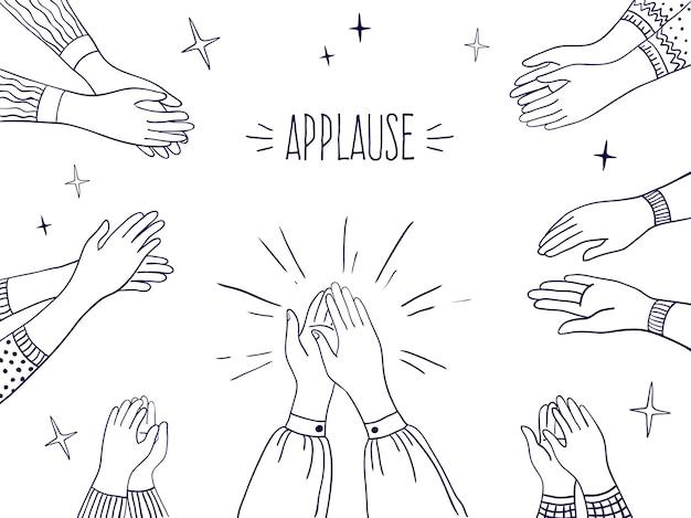 Doodle applause.people desenhou a ilustração das mãos, desenho do esboço de bater palmas.
