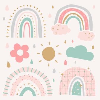 Doodle arco-íris em conjunto de vetores de estilo fofo