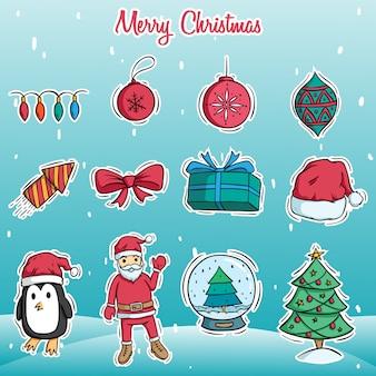 Doodle arte de feliz natal bonito decoração em fundo de neve
