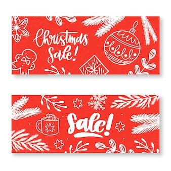 Doodle banners de venda de natal em tons de vermelho