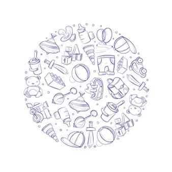 Doodle bebê brinquedos vetor ícones no design do círculo