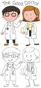 Doodle bom médico personagem Vetor Premium