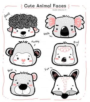 Doodle bonito animal selvagem rosto conjunto, desenho de contorno de criança de berçário
