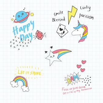 Doodle bonito conjunto com citações em fundo de papel