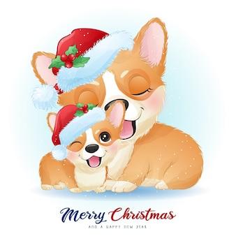Doodle bonito corgi para o dia de natal com ilustração em aquarela