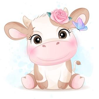 Doodle bonito de vaca com ilustração em aquarela