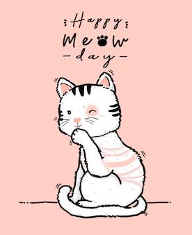 Doodle bonito feliz aniversário cartão playfull fofo kiitty gato branco e rosa lamber a pata, pata de limpeza, contorno mão desenhar ilustração plana