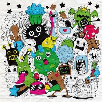 Doodle bonito fundo de monstro, desenho de mão doodle