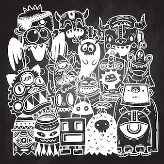 Doodle bonito fundo de monstro, mão desenhar
