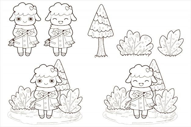 Doodle bonito ovelhas e árvore