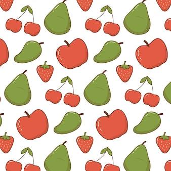 Doodle bonito padrão de frutas