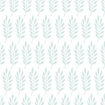 Doodle bonito padrão sem emenda com galhos e folhas