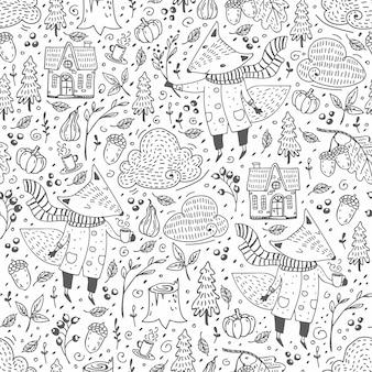 Doodle bonito padrão sem emenda com ilustração de raposa