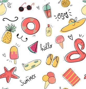 Doodle bonito verão coleção padrão sem costura plana vector illustration
