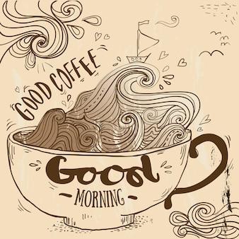Doodle bonito xícara de café em linhas. ilustração vetorial